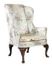 QUEEN ANNE STYLE WALNUT WING CHAIR
