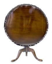 GEORGE III STYLE MAHOGANY TILT-TOP PIE CRUST TABLE