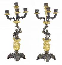 PAIR FRENCH PATINATED AND GILT BRONZE FOUR-LIGHT CANDEL