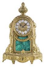 LOUIS XVI STYLE BRONZE AND FAUX MALACHITE MANTLE CLOCK