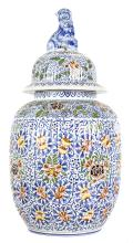 FRENCH FAIENCE COVERED VASE MADE & RETAILED FOR TIFFANY