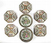 SEVEN CHINESE EXPORT ROSE MEDALLION PORCELAIN ITEMS
