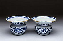 PAIR OF NANKING CARGO BLUE & WHITE PORCELAIN INK POTS,