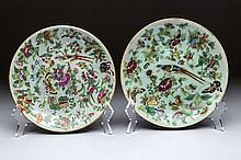 PAIR OF CHINESE FAMILLE ROSE CELADON GROUND PLATES,