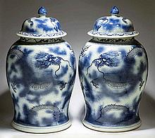 PAIR BLUE/WHITE DRAGON PORCELAIN COVERED JARS