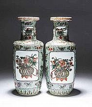 PAIR OF CHINESE FAMILLE VERTE PORCELAIN ROUEAU VASES