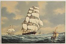 SALVATORE COLACICCO (B. 1935) SCHOONER ON THE HIGH SEAS