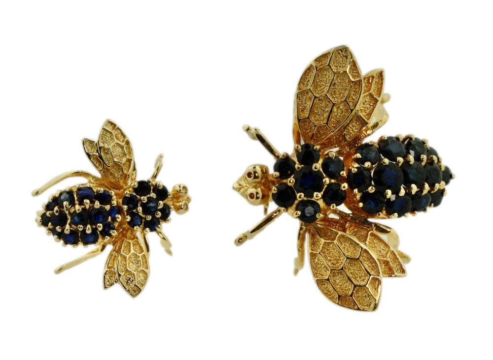 Two 14 Karat Gold and Gem-Set Bee Brooches
