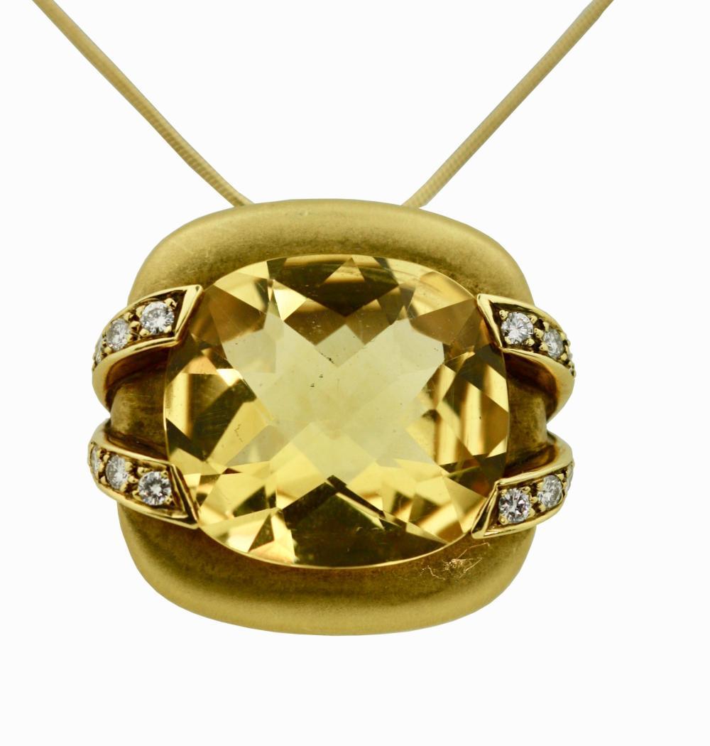 Lot 28: Marlene Stowe, Citrine, Diamond and Gold Pin