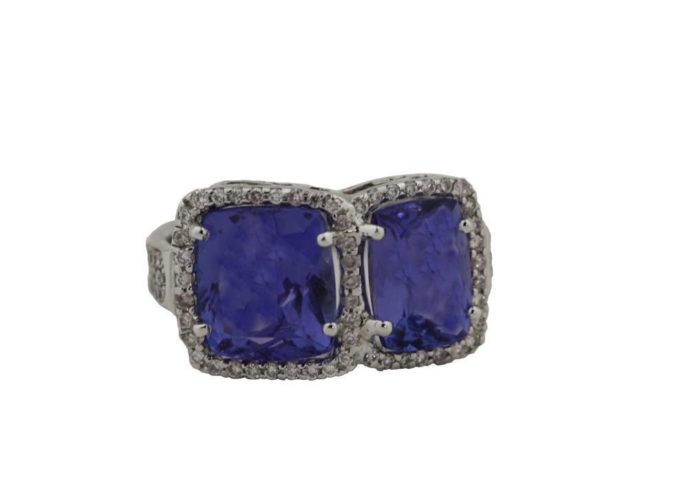 """Double"" Tanzanite and Diamond ring"