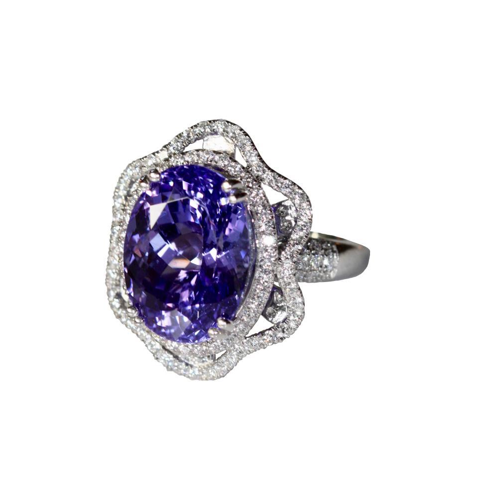 Fine Tanzanite and Diamond Ring