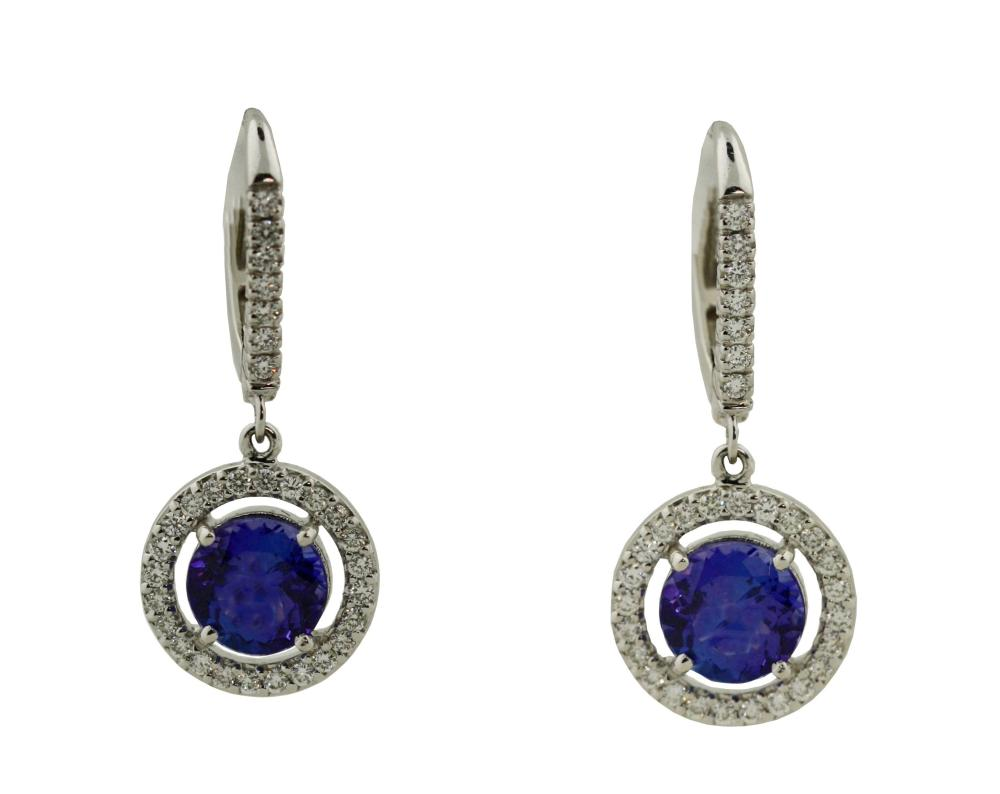 Pair of Tanzanite and diamond earrings