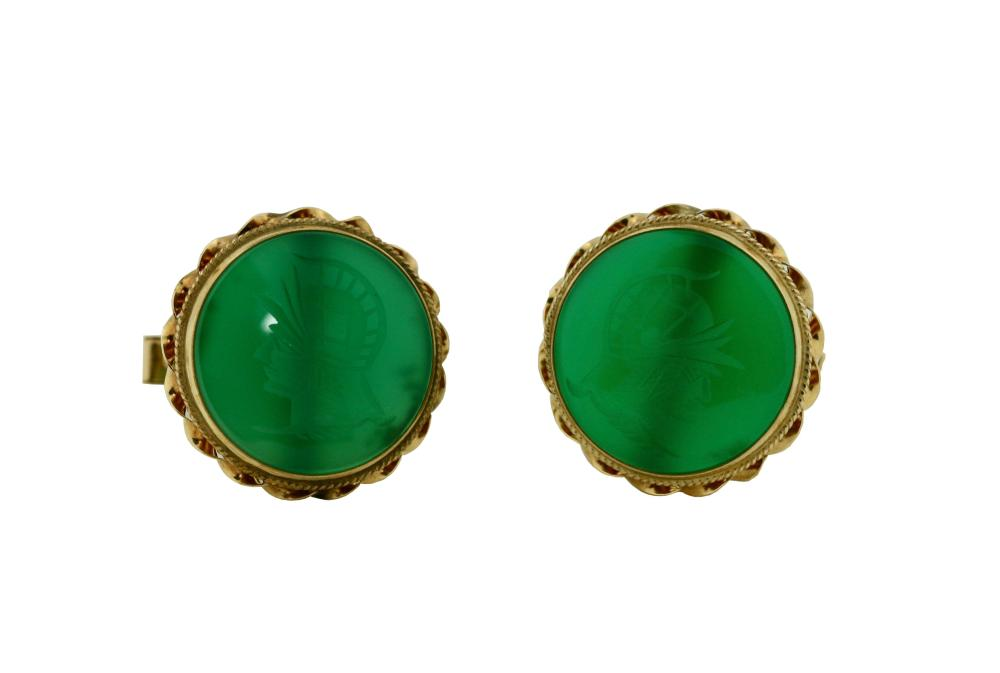 Pair of cufflinks, Set with carved chalcedony