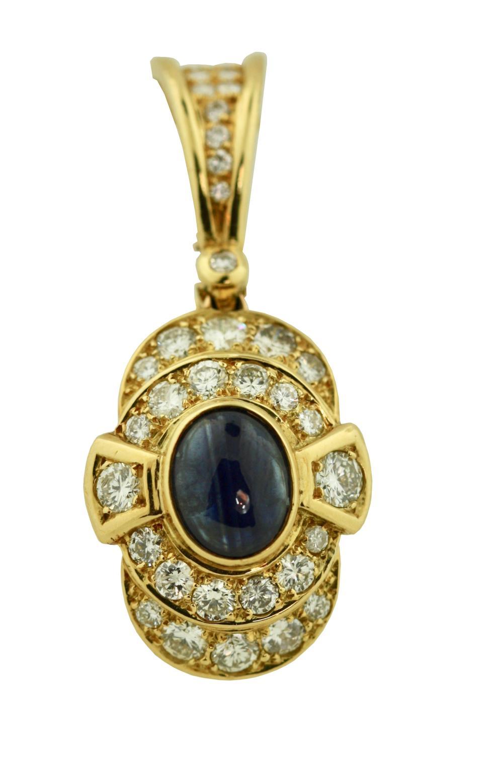 18K Gold , Sapphire and Diamond Pearl Enhancer