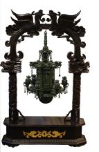 "Lot 2: A Spinach Jade ""Lantern Group"" and Wood Stand"