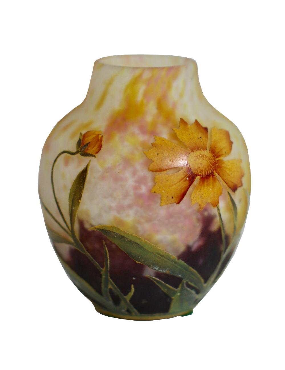 Lot 53: Fine Daum Nancy Cameo and Enamel Glass Vase