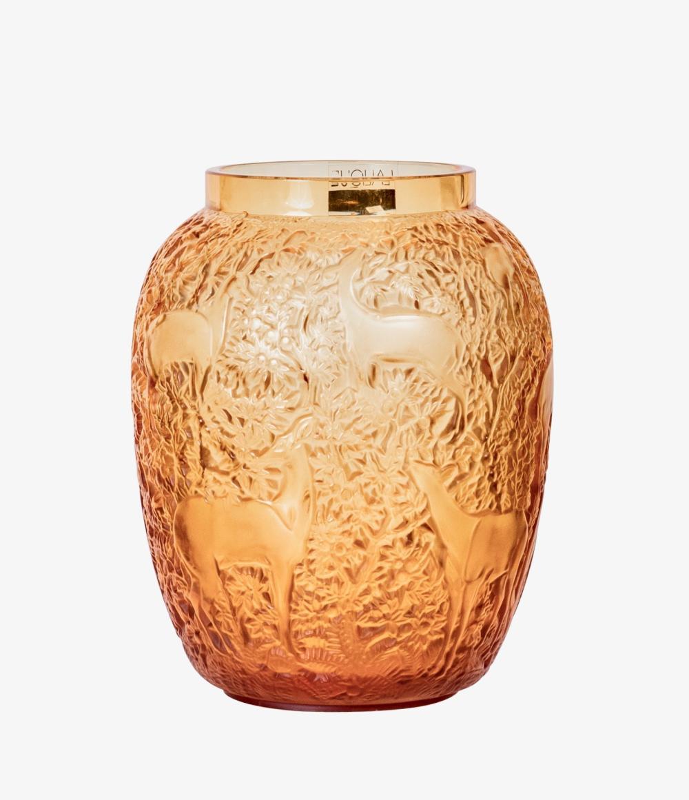 """Lot 58: Lalique - Paris , France (Modern) """"Biches"""" Crystal Vase"""