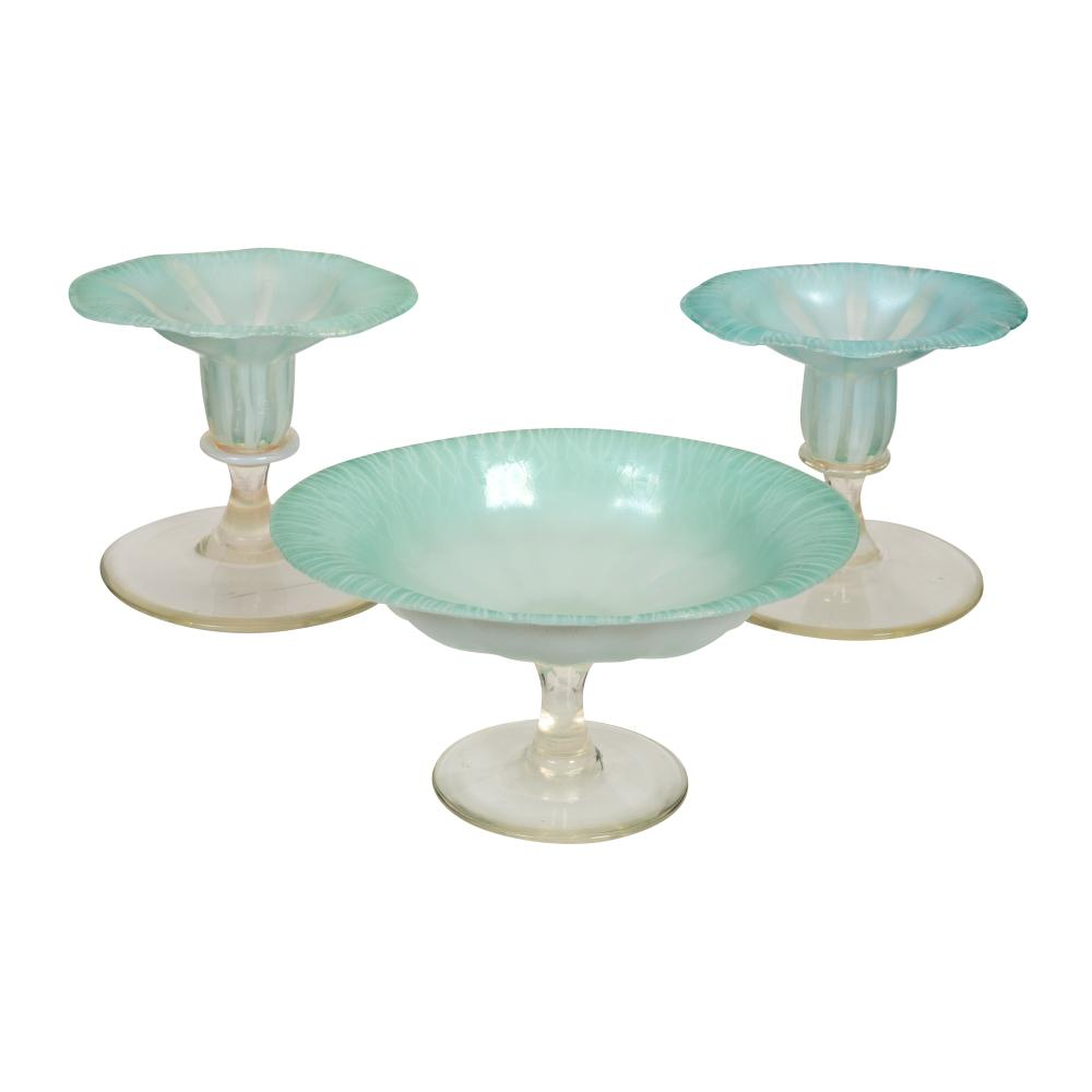 Lot 62: Fine Pastel Tiffany Favrile Glass Three Piece Garniture