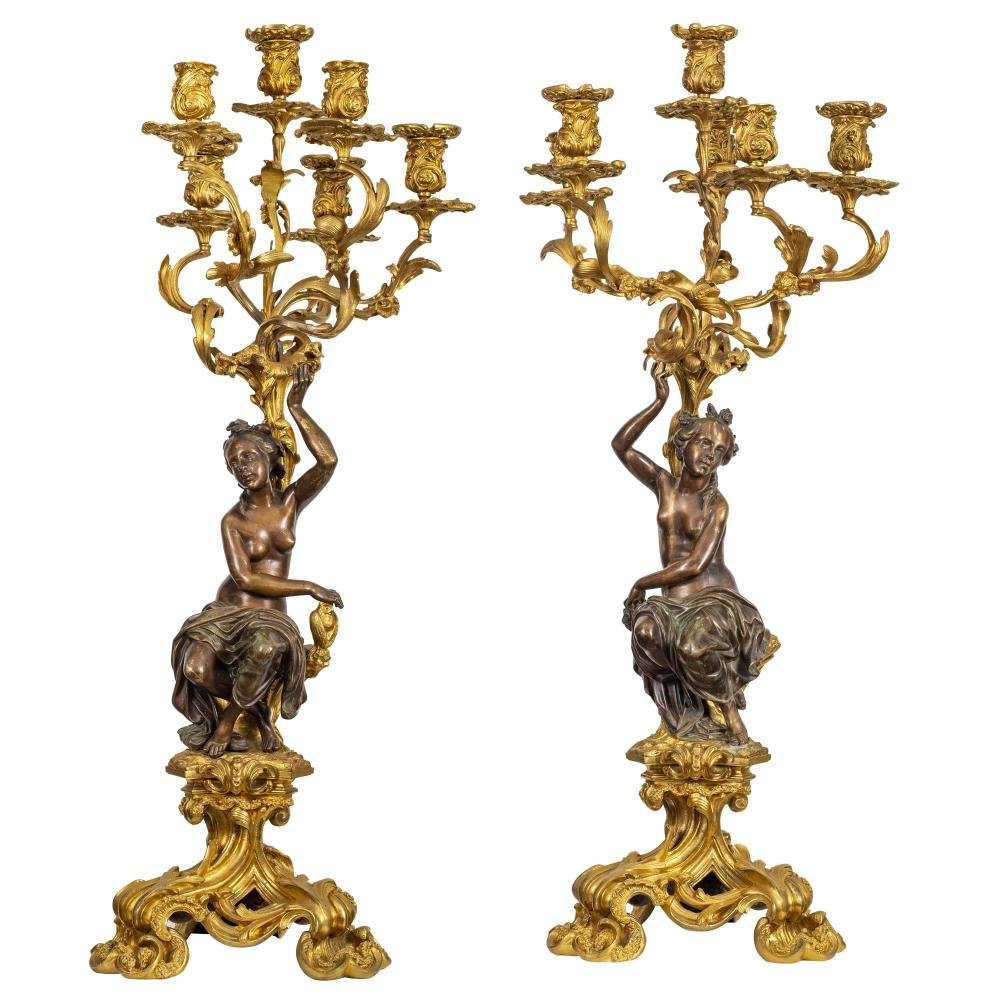 Lot 55: Large and Fine Pair of 19th Century Candelabra