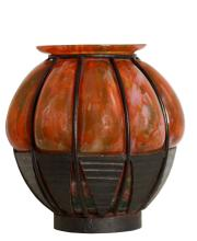 Lot 77: A Fine art-deco schneider glass and wrought iron vase