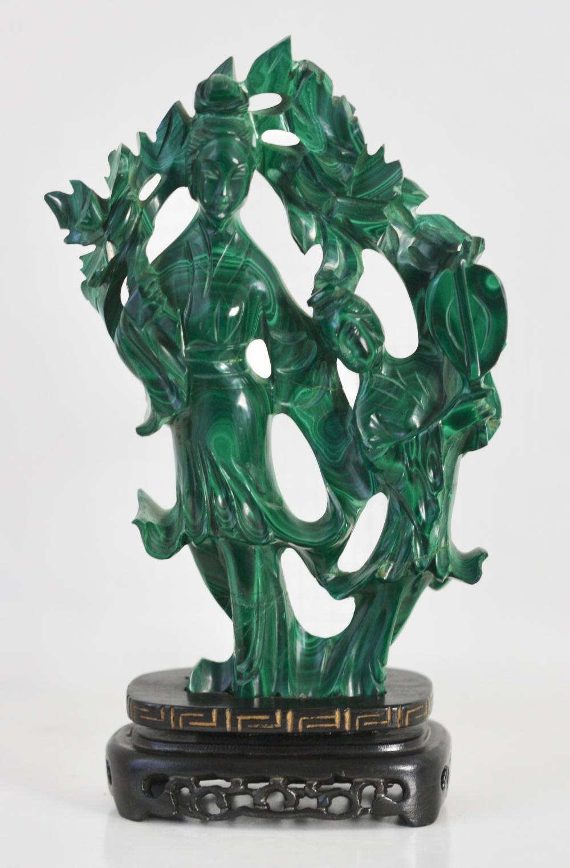 Lot 66: Chinese Malachite Figure of Quan-yin