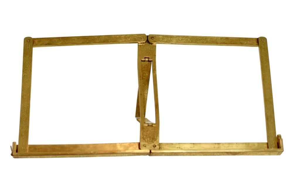 A  Chinese gilt bronze folding album stand