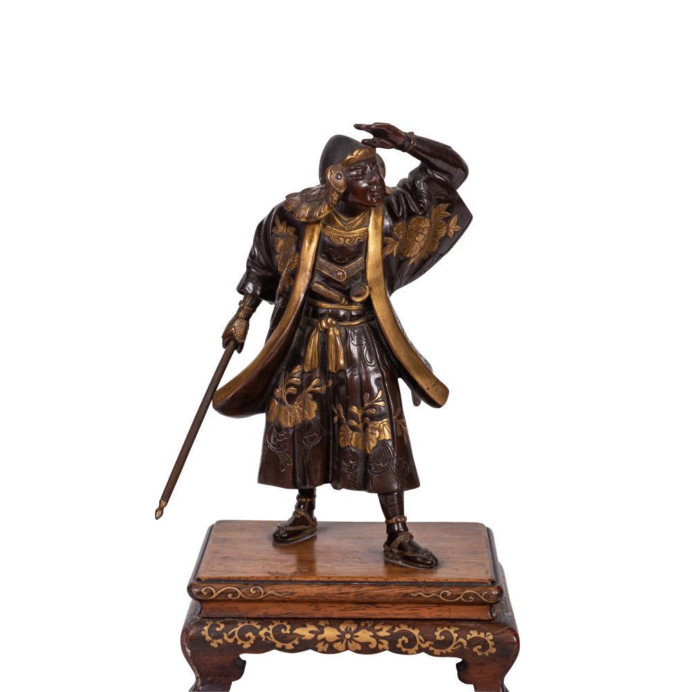 Lot 88: Miyao patinated bronze model of a Samurai