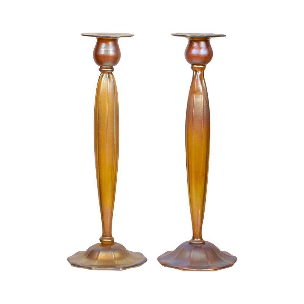 Lot 97: Pair of Tiffany Favrile Glass Candle Sticks