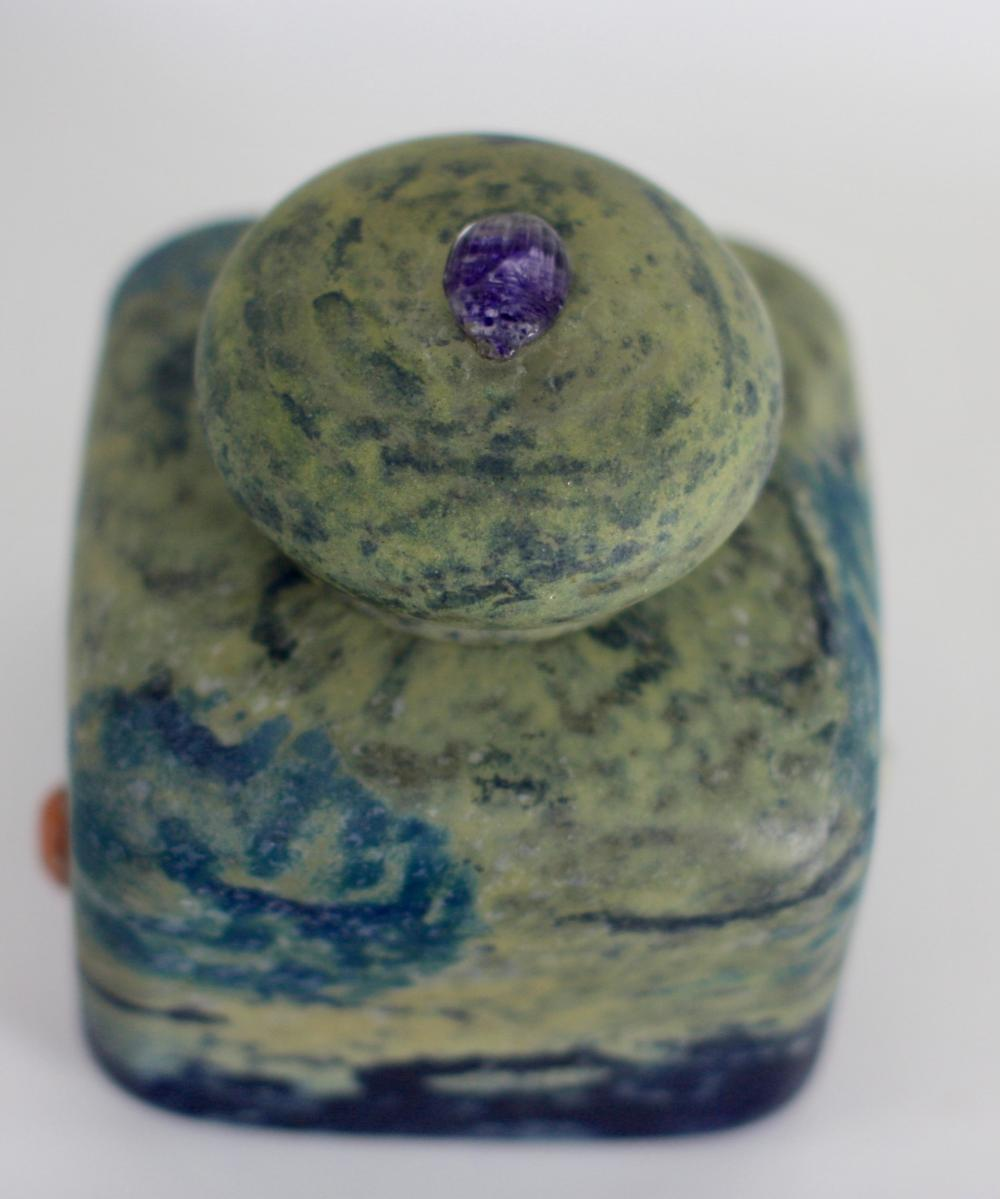 Lot 96: Fine Daum Nancy Mottled Glass Inkwell