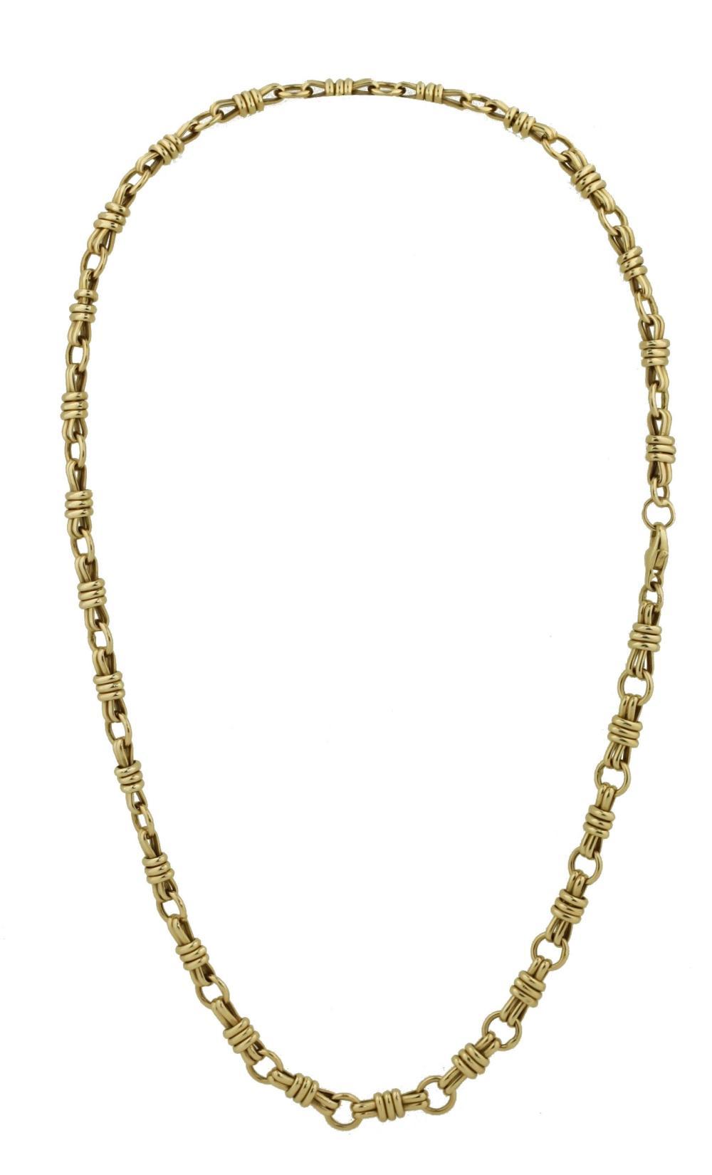 "Lot 31: 14 Karat Yellow Gold ""Toggle"" Necklace"