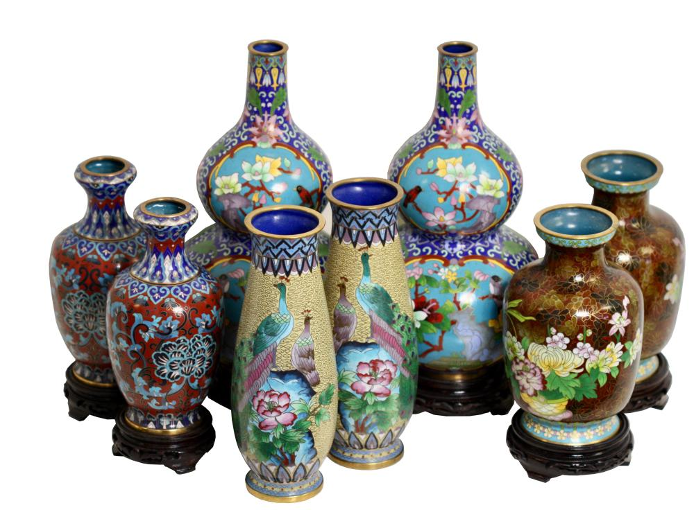Four pairs of Chinese Cloisonne Enamel Vases