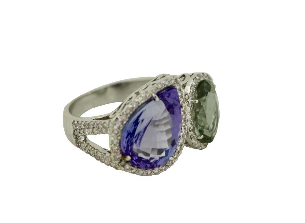 Tanzanite, Green Sapphire and diamond ring