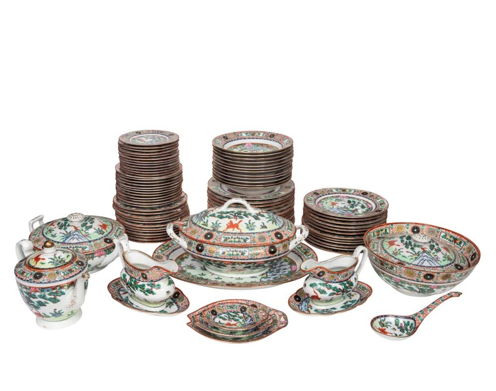 Lot 24: A Chinese Export Rose Medallion Part Dinner Service