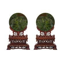 Lot 6: Very Fine Pair of Spinach Jade Table Screens