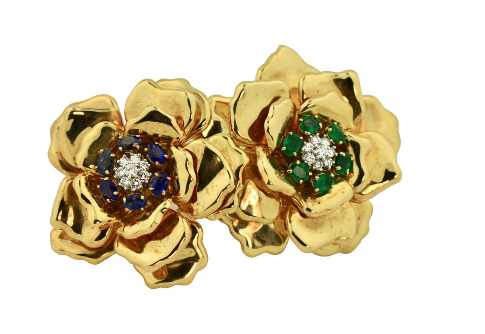 18 Karat Gold Sapphire and Diamond Brooch, Emis