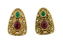 Lot 12: Pair Gold, Cabochon Ruby, Emerald and Diamond Earrings