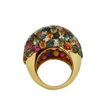 Lot 13: Mixed Colored Sapphire and diamond ring