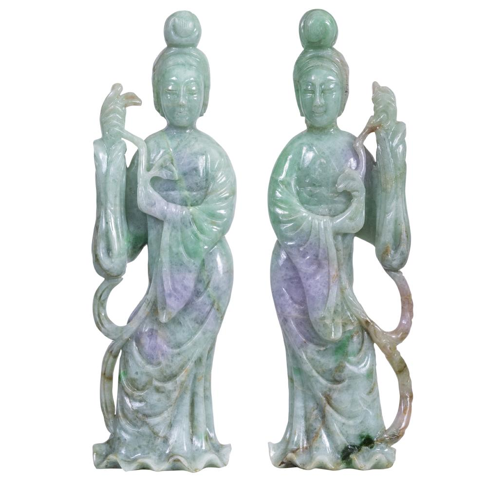 Fine Pair of Chinese Jadeite Figures of Quanyin