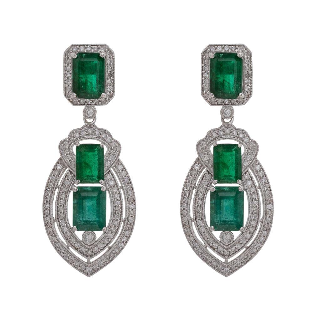 Lot 17: Pair of Emerald and Diamond Earrings