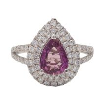Lot 21: Fine Natural Pink Sapphire and Diamond Ring