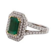 Lot 16: 18 Karat Gold, Emerald and Diamond Ring