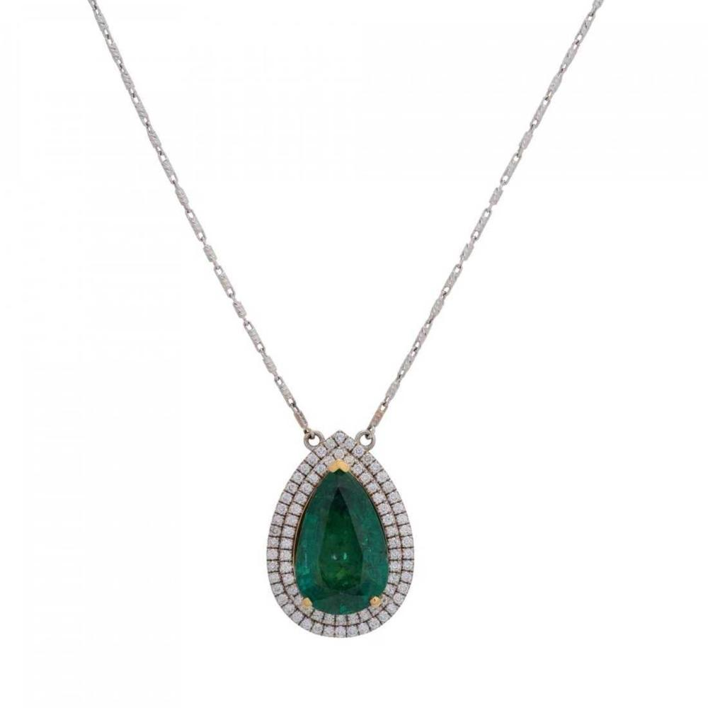 Lot 39: Very Fine Emerald and Diamond Pendant Necklace