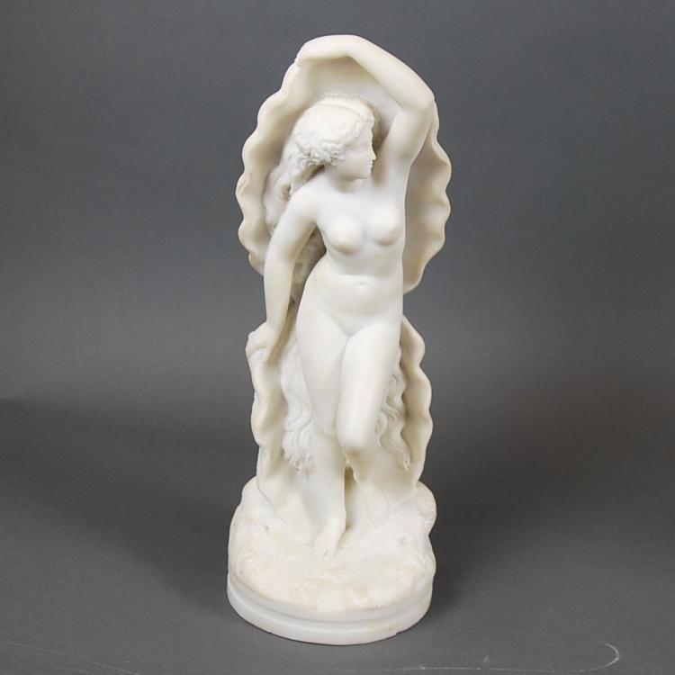 A. COURTET, FRENCH MARBLE FEMALE NUDE & SHELL, 1859