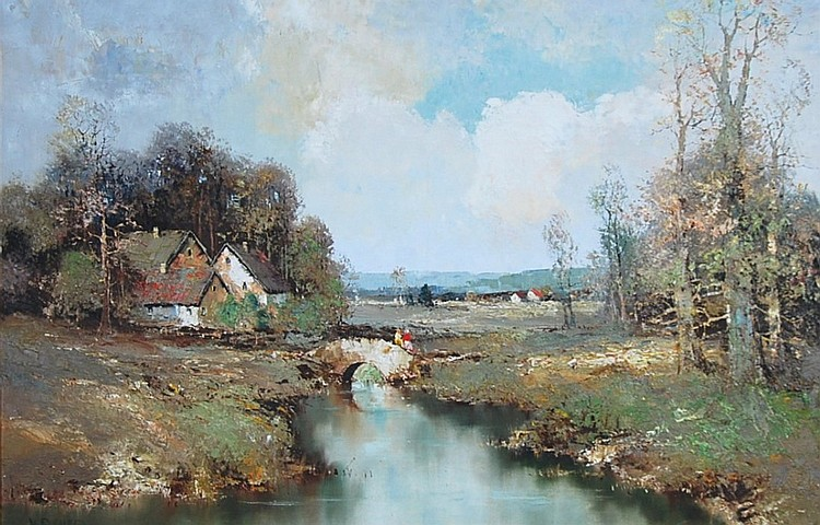 MAX BAUER, (AMER), 'RIVER LANDSCAPE WITH COTTAGE_, O/C
