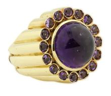LARGE AND FINE 18KT GOLD AMYTHYST RING