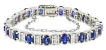 VERY FINE PLATINUM,  SAPPHIRE, AND DIAMOND BRACELET