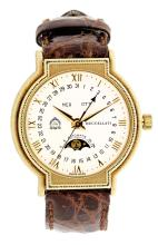 BUCCELLATI, YELLOW GOLD AUTOMATIC MOON PHASE WRISTWATCH