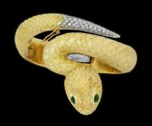 VERY FINE ITALIAN GOLD SNAKE BANGLE BRACELET