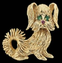 14kt GOLD BROOCH, Designed as a dog