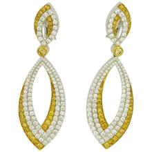 White and Fancy Yellow Diamond Gold Earrings